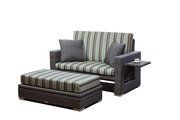 Patio Wicker Loveseat with Ottoman on Sale
